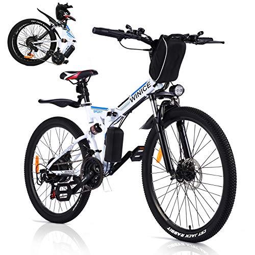 VIVI Bicicletta Elettrica Pieghevole, 350 W Mountain Bike Elettriche per Adulti,26' E-bike con Batteria Rimovibile 8Ah, Professionale SHIMANO 21 velocità