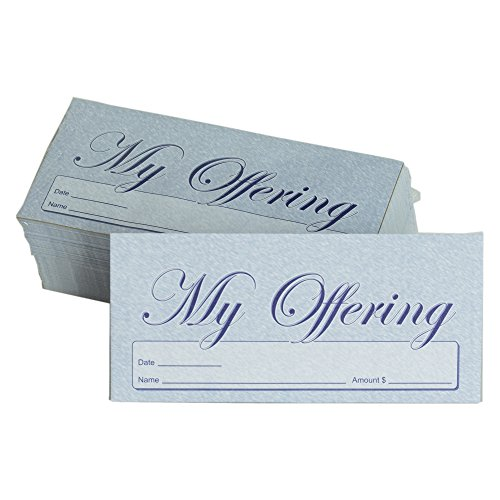 My Offering - Church Tithe/Donation Envelopes – Blue, Simple Design, Easy-open Tab, Fits Bills & Checks, Name, Date & Amount, Malachi 3:10 KJV Verse, Choose Your Quantity (125, 250, 500)