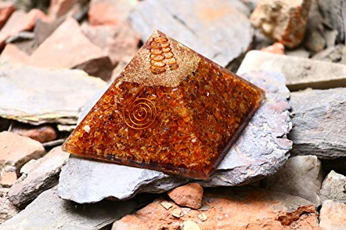 ZAICUS Carnelian Orgone Crystal Pyramid Energy Generator Gemstone Chakras Balancing & Reiki Healing Good Luck for Home Decor Size 3-3.5 inch Approx