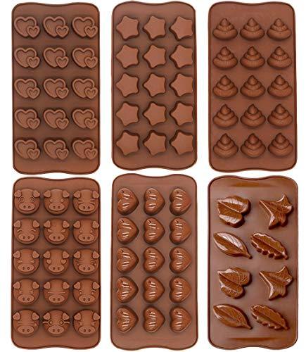 QZDADA 6 Piezas Moldes de Silicona para Dulces de Chocolate, Cerdo Mierda Emoji Pegajoso Bandeja Forma de Estrella de Hoja de corazón Molde de pudín de gelatina
