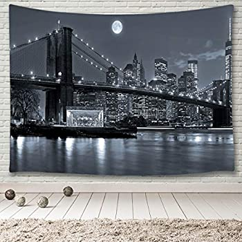 MINAKO New York City Skyline Tapestry Wall Hanging,Brooklyn Bridge East River Manhattan Skyscrapers Lights Black and White Moon Night,Wall Art Tapestry for Bedroom Living Room College Room 60 x40