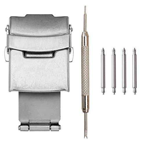 JSDDE Uhr Zubehör Set, 4 Stück Federstege + 1 Stück Edelstahl Silber Faltschliesse/Uhrenschließe + 1 Stück Reparatur Werkzeug, 22mm