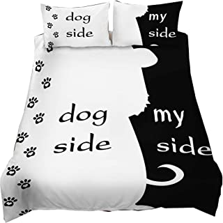 EsyDream Black White Color Duvet Cover Sets 3 Pieces Dog Side My Side Pets Shit Officer Design Modern City Men's Home Bedclotes Sheet No Quilt King Color 9