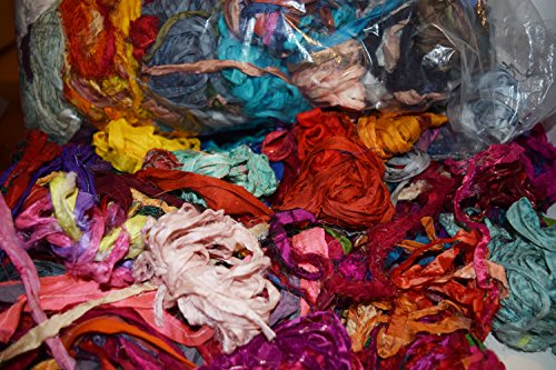 4 oz Sari Silk Ribbon Scraps Remnants for Mixed Media Felting Spinning Silk Paper Weaving Fiber
