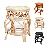 Ginger Handmade Rattan Wicker Stool Fully Assembled White Wash