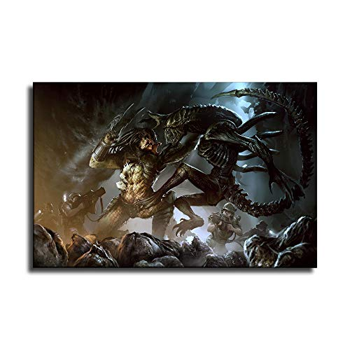 Póster de Alien vs Jedi1 en lienzo y arte de pared, diseño moderno de familia, Sin marco, 20x28inch