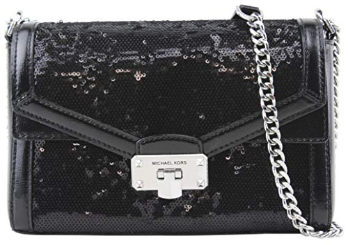 "Medium convertible shoulder cross-body bag; Constructed from textured patent leather with black sequins trim. Flap top with modern push-lock clasp closure; Chain-link and leather shoulder/cross-body strap with approx. 12"" - 21"" drop. Exterior has 1 f..."