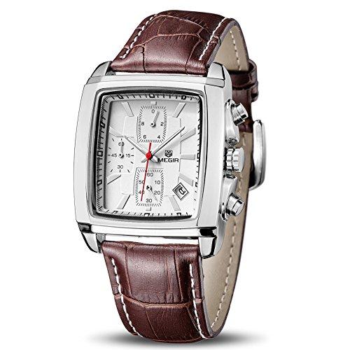 MEGIR Quartz Rectangular Analog Waterproof Luminous Chronograph Leather Strap Men's Wrist Watch with Calender (White) …