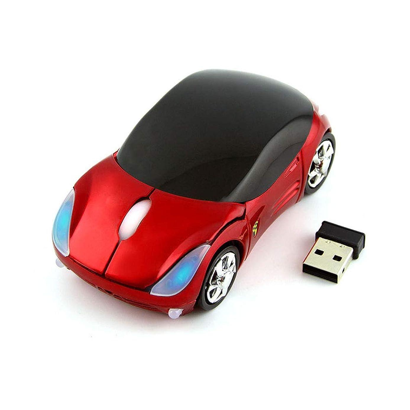 マリン急流親愛な車の形状マウス 2.4GHz 車型ワイヤレスマウス ミニ無線マウス 光学式コードレスマウス カー型マウス USBレシーバー付き PC/ノートパソコン/コンピューター用 面白い 小型くるま マウス 子供/女の子用 (レッド)