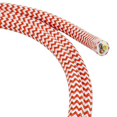 1,20m Textilkabel Rot Weiß im Zick-Zack 3-adrig Stoffkabel für Pendel- und Hängeleuchten Stromkabel mit Stoff Textil gezackt Lampenkabel