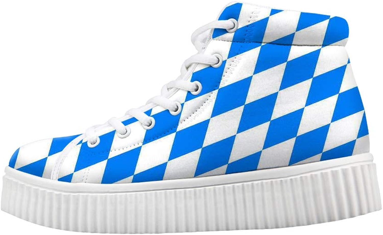 Owaheson Platform Lace up Sneaker Casual Chunky Walking shoes High Top Women bluee White Diamond Bavarian Flag
