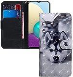COTDINFOR Huawei Y6 2019 Hülle 3D-Effekt Painted cool Schutzhülle Flip Bookcase Handy Tasche Schale mit Magnet Standfunktion Etui für Huawei Y6 Pro 2019 / Honor Play 8A Cute Husky BX.