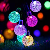 Solar String Lights Outdoor , 50LED Globe Fairy Waterproof Lights , 8 Mode 7M/24Ft Indoor/Outdoor Solar Powered String Lights for Garden, Patio Yard, Home ,Christmas ,Parties ,Wedding (Multi-Colored)