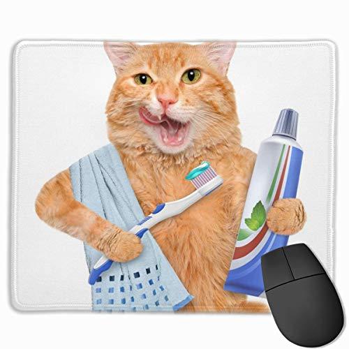 Gaming Mouse Pad Lustige Katze putzt Zähne Mauspads Matte Mousepad mit rutschfestem Gummi für Computer Laptop Bürozubehör Schreibtisch Dekor