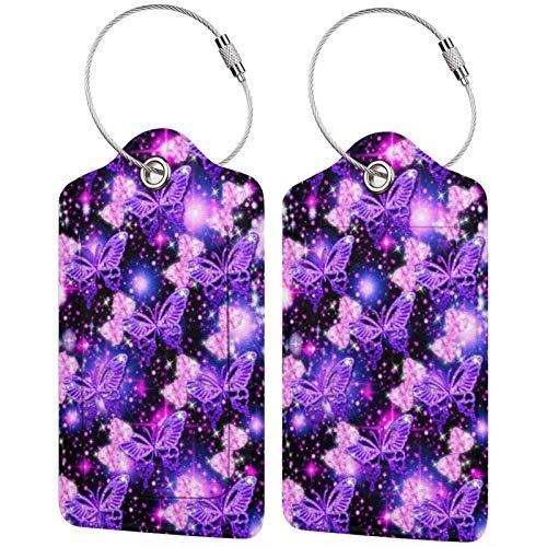 Etiquetas de cuero para equipaje de viaje, diseño de mariposas, color morado, con anillo de acero inoxidable para la cubierta de privacidad