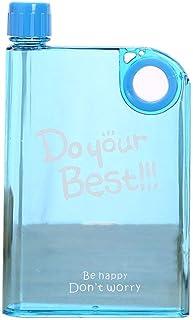380ml Flat Water Bottle A5 Memo Notebook Plastic Transparent Leak Proof Sport Travel Water Bottle
