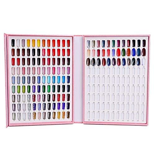 HZWLF Nail Display Book 1 Pcs Nail Tip Color Chart Display Nail Polish Glue Display Box Color Card Polish with Nail Tips Nail Practice Card