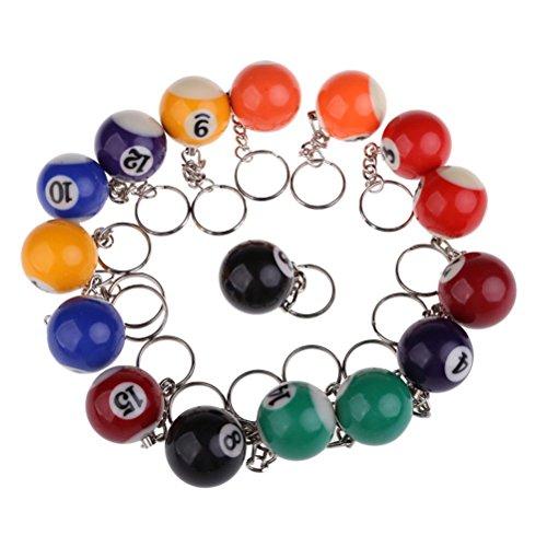 PIXNOR 16pcs Billard Pool Eight Ball 32mm Modell Keychain Schlüsselanhänger Key Chains Nr. 1, Nr. 15