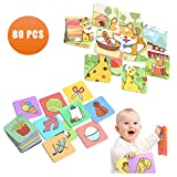 TUMAMA Flash Cards, Baby Learning Color Card, Photo Cards Puzzle Card Toy for Early Educational Development Boys,Girls,Kids,Infants,Toddle 12–36 Months and Up ( 80 Pcs)