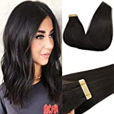 GOO GOO Human Hair Extensions Tape in Natural Black 50g 22 Inch Straight Remy Tape in Hair Extensions Real Hair Extensions