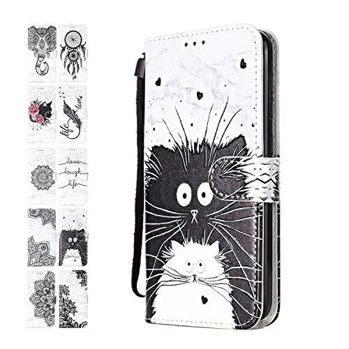 Ancase Lederhülle kompatibel für Samsung Galaxy A10 / M10 Hülle 3D Muster Marmor Schwarz Weiss-Katze Handyhülle Flip Hülle Cover Schutzhülle mit Kartenfach Ledertasche für Mädchen Damen
