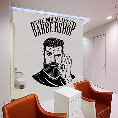 LSMYE Der Mann liest Friseur Shop Aufkleber Vinyl Wallpaper für Haarschnitt Abziehbilder Pvc Wandbild Friseur Wandaufkleber Weiß XL 57cm X 86cm