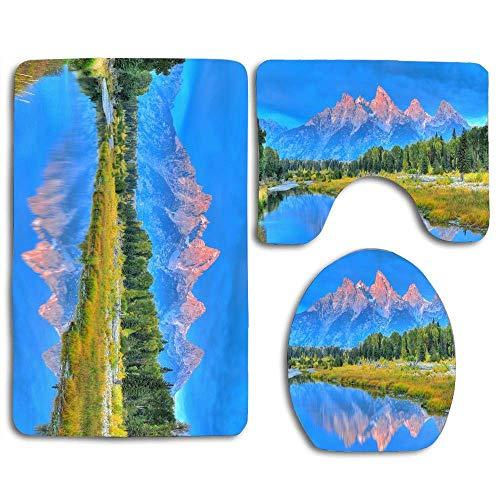 JOOCAR 3-teiliges Set rutschfester WC-Vorleger + WC-Deckelbezug + Badvorleger, schöne Natur, hübscher Grand Teton Wyoming, weich & schön