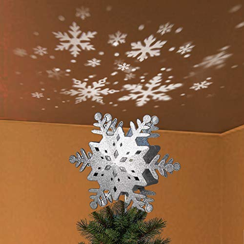 Padoo 10' Glittering Silver Hollow Snowflake Christmas Tree Top Lights with Rotating Snowflakes Projector Christmas Tree Decoration