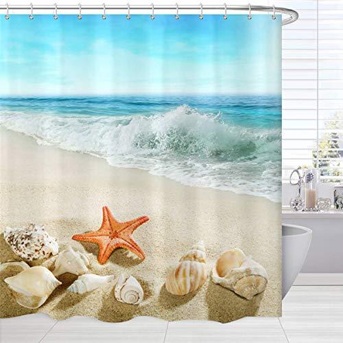 Beach Shower Curtain Machine Washable , Seashells Starfish Conch Waves Ocean Bath Curtains, Blue Fabric Waterproof Bathroom Accessories Set with Hooks