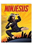 Large Ninjesus Birthday Card (Big 8.5 x 11 Inch) - Hilarious Greeting Card with Envelope - Funny Ninja Jesus, Flying Kick with Samurai Sword - Funny Personalized Happy Bday Message J9640