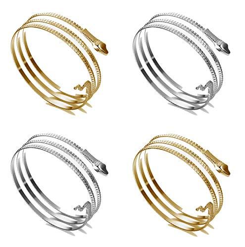 【Bracciale a bracciale】 In un ordine otterrai 4 pezzi di braccialetti a forma di serpente a spirale aperta: 2 braccialetti d'oro, 2 braccialetti d'argento. Quando si indossa un bracciale a forma di braccio di serpente, c'è l'illusione che il serpente...
