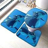 XCNGG Juego de alfombras de Tres Piezas Bath Mats 3 Piece Team Bath Rug Set,Antiskid Bathroom Toilet Contour Mat Washable(WhalesCute Orca Killer Whales Blue Sea)