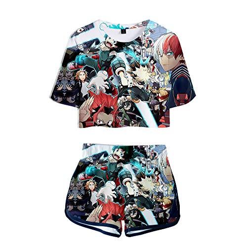 NLJ-lug My Hero Academia Sports Girls Set de dos piezas Anime Jersey Figure Camisetas Pantalones Cortos, XL