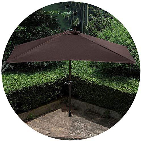 230 cm Halbes Rechteckig Sonnenschirm Gartenschirm Marktschirm,Sonnenschutz/PU Wasserabweisende,Mit Kurbelvorrichtung,Diverse Farben