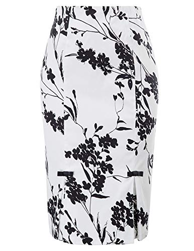 Belle Poque Women Vintage Floral Skirt Stretchy Pencil Skirts S, Floral-1