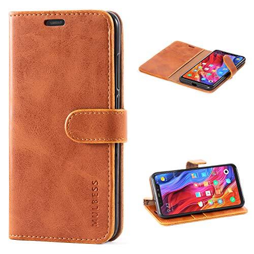 Mulbess Handyhülle für Xiaomi Mi 8 Hülle Leder, Xiaomi Mi 8 Handy Hüllen, Vintage Flip Handytasche Schutzhülle für Xiaomi Mi 8 Hülle, Braun