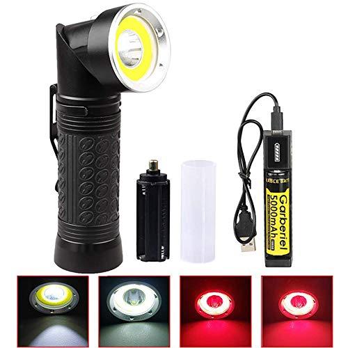 T6 LED Taschenlampe Taktische 2 Farbe Licht Rot & Weiß, 4 Modi Wasserdichte Rotlicht LED Taschenlampe Magnetfuß 90°Drehen für Die Jagd Fischen Wandern Lesen Outdoor