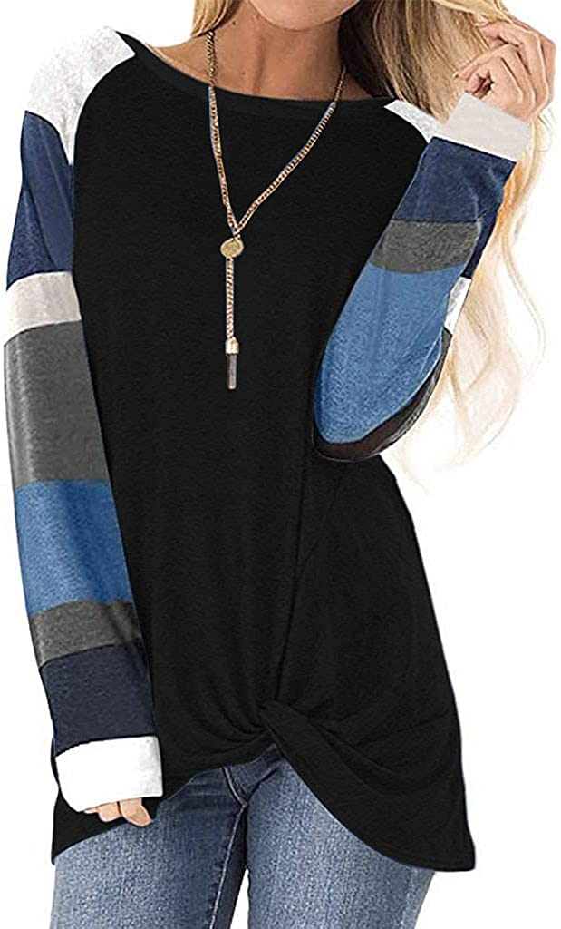 felwors Plus Size Tops for Women, Womens Round Neck Tunic Tops Color Block Casual Long Sleeve Loose T Shirts Blouses