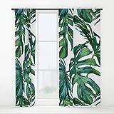 COCO-La-la Classico Foglie di Palma Tropicale Jungle Verde Finestra Tende Finestra Tende oscuranti con Pannelli per Camera da Letto, Home, Set di 721,4x 139,7cm