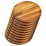 KESPER 28444 Set da 10 piatti in legno di acacia, per carne, Ø 30 cm, certificato FSC®, adatto anche come piatto per la pizza o come tagliere