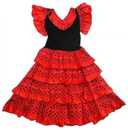 Vestido ropa disfraz de danza flamenca flamenco sevillana niña (10, ROSA)