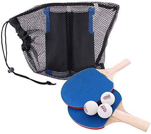 RJJBYY Juego de palas de ping pong para interior y exterior, profesional, retráctil, 3 bolas, 2 redes de tenis de mesa para actividades de niños y adultos