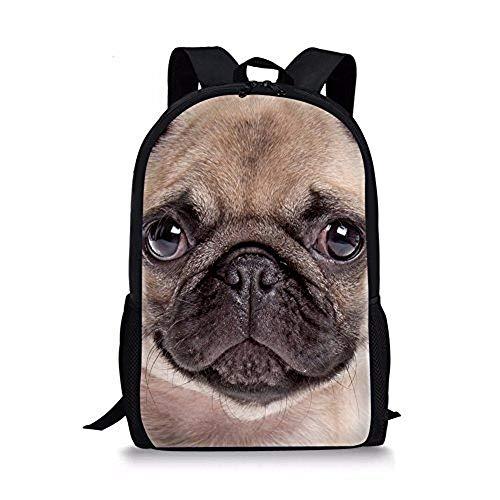 Cute Animal Pug Backpack 17' School Bag for Elementary Boys Girls Rucksack