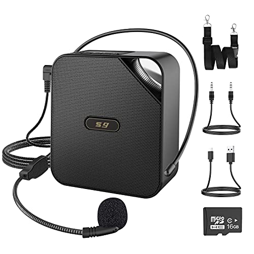 Portable Voice Amplifier 50W 3600mAh Rechargeable PA System Speaker with 16GB TF Card/Wired Headset Microphone/Smart Phone Audio Cable for Teaching,Meetings,Training,Presentation,Coaches, Tour Guide