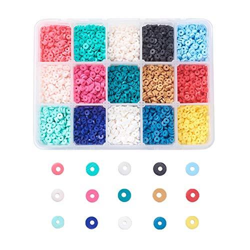 Cheriswelry Cuentas redondas planas de arcilla polimérica de 4 mm, 5700 unidades de 15 colores de disco de monedas Heishi arcilla espaciadora para joyería pulsera y pendientes
