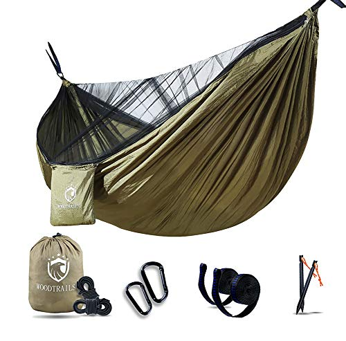 Woodtrails Camping Hammock with Mosquito Net Lightweight Double Hiking Hammock with Tree Straps Portable Hammocks for Indoor,Outdoor, Hiking, Camping, Backpacking, Travel, Backyard, Beach