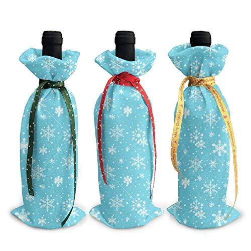 3pcs Copertura Bottiglia di Vino Blu congelato Fiocco di Neve Decorazione Borse di Copertura Decorazione Tavolo Decorazione Per Festa Di Natale Cena Regalo