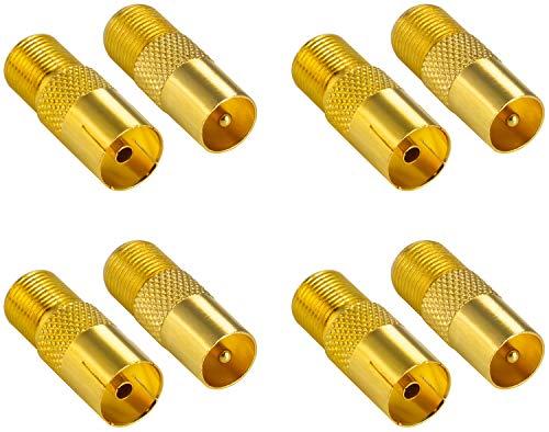 Poppstar 8X SAT Adapter Koax Antenne (F-Buchse, 4X auf IEC Antennenstecker, 4X auf Antennenbuchse), Coax Kupplung für Koaxialkabel - Antennenkabel, vergoldet