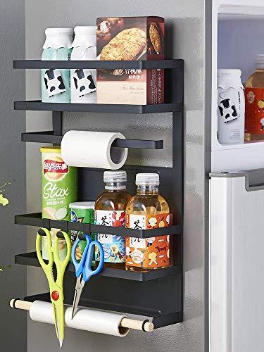 RETMI Schwarz-magnetisches Kühlregal Magnetic Kühlschrank Organizer Gewürzregal mit Holzpapier Handtuchhalter Gewürz Organizer Magnetregal Schwarz