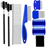 Aodaer 8 Pieces Tear Stain Remover Comb for Cats Dogs Multipurpose Tool for Pet Cat Dogs Removing Eye Mucus, Crust and Matted Fur Pets Grooming Comb Set with Storage Bag